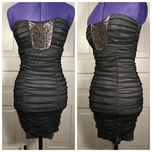 NWOT beaded ruched gathered bodycon dress Trixxi